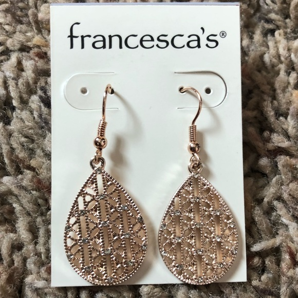Francesca's Collections Jewelry - Francescas Rose Gold Dangle Earrings